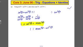 a level maths edexcel core 3 past paper question trig solving simple identities