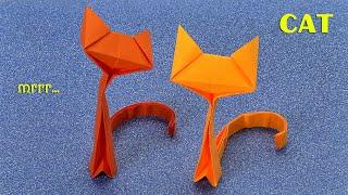 Как сделать кошку из бумаги (Оригами котёнка, поделки для детей своими руками, просто)