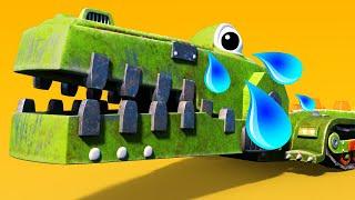 АнимаКары - КРОКОДИЛ КАМНЕДРОБИТЕЛЬ боится грозы - мультфильмы для детей с машинами и животными