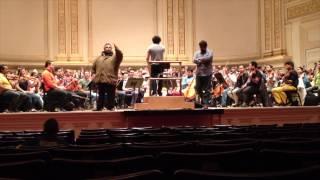 Ensayo de La Cantata Criolla con la Orquesta Simon Bolivar en Carnegie Hall