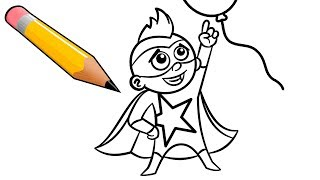 Coloring Page for Children with Superhero Boy & Big Balloon