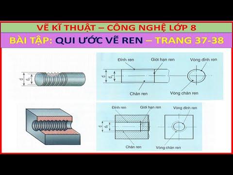 Vẽ kĩ thuật – Công nghệ 8 | Bài 11 Trang 37 – 38 | Biểu diễn Ren và Qui ước vẽ Ren