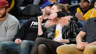 adam levine and wife behati prinsloo attend la lakers game