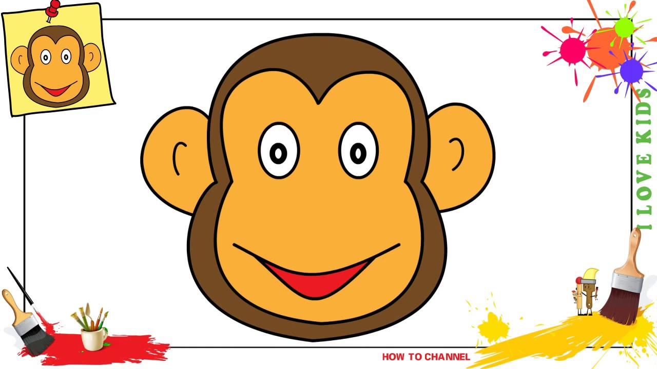 How To Draw A Monkey Face Easy Step By Step For Kids And Beginners