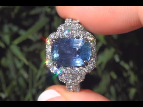 GIA Certified Unheated Blue Sapphire & Diamond Engagement Ring 18k White Gold 5.76 TCW - C266