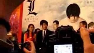 """二月分, 松山研一來港宣傳電影""""L 之終章‧最後的23天"""". 司儀係李志光, 地..."""