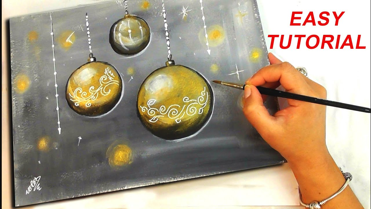 Gold Christmas Ornaments Painting Tutorial Easy Acrylic Diy Youtube