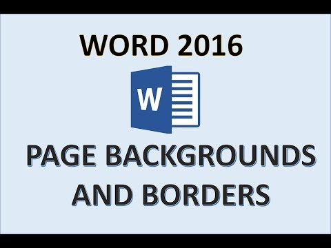 Word 2016 - Format the Page Background