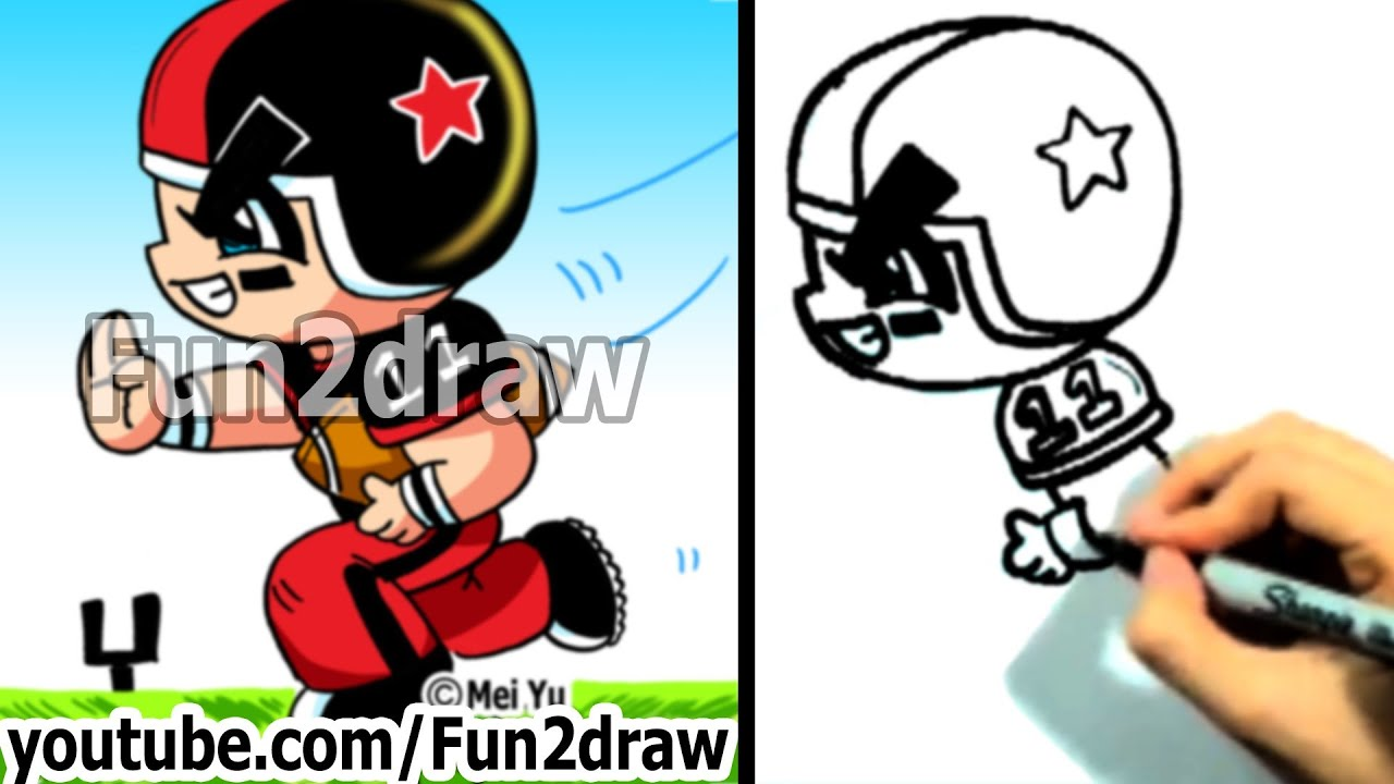 How to Draw Cartoon People  Football Player  Draw People