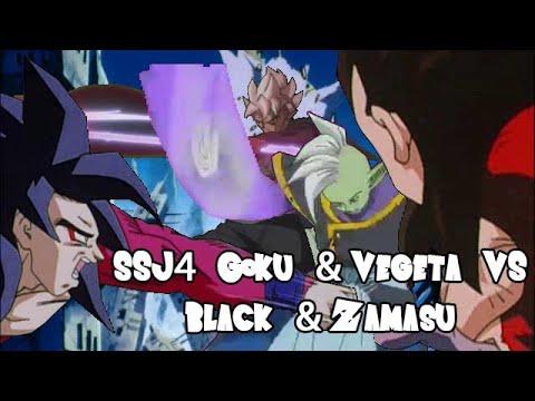 SSJ4 Goku & Vegeta vs Black & Zamasu (孫悟空 そして ベジータ VS ゴクウブラック そして ザマス)