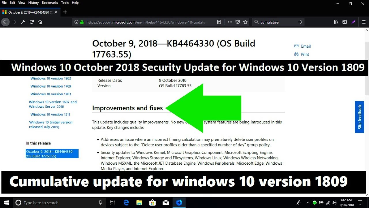 Windows 10 October 2018 Security Update for Windows 10 Version 1809