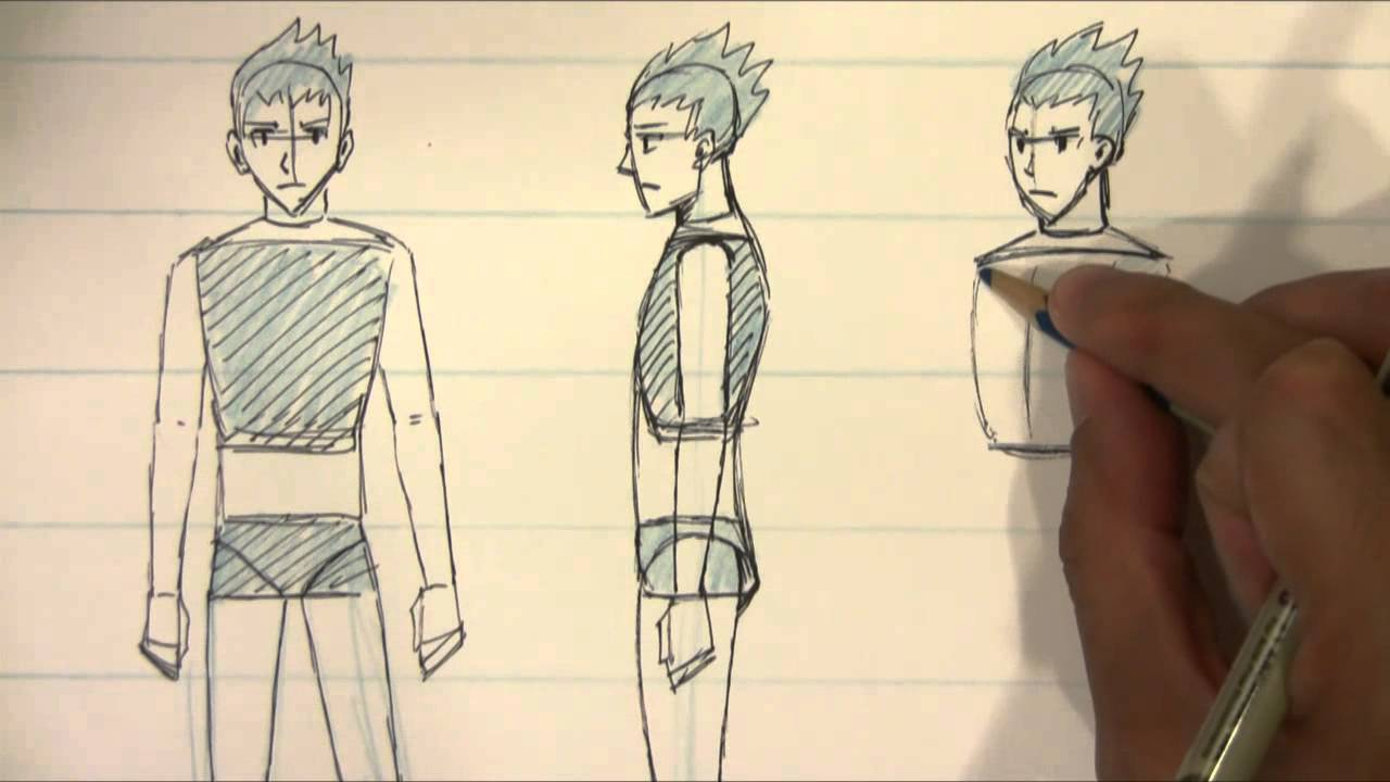 How to draw different views for male body proportions manga style youtube