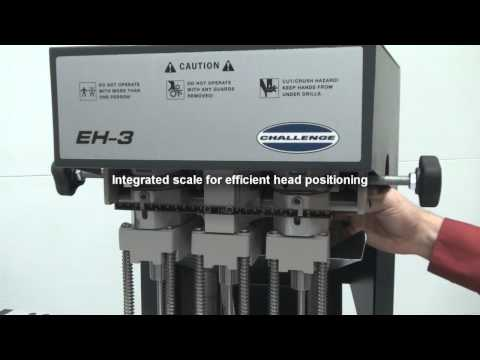 Challenge EH-3 Hydraulic Three Spindle Paper Drill Video Demo