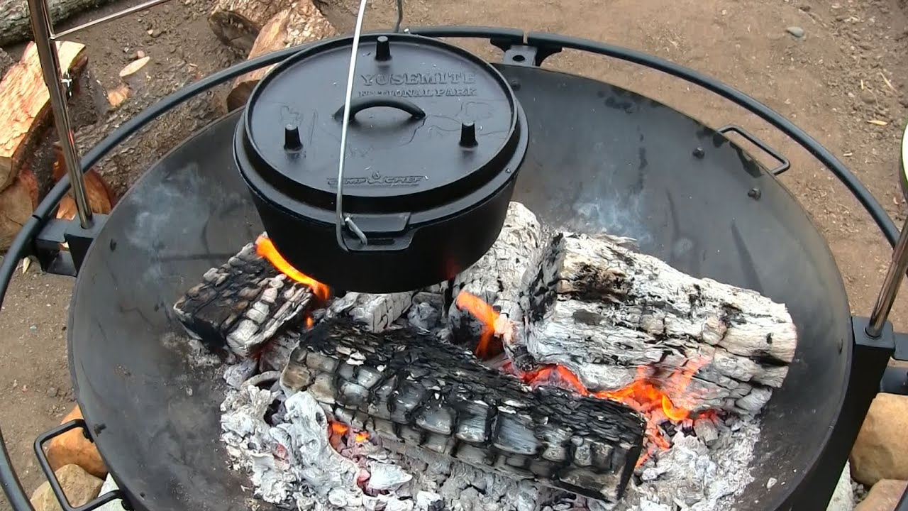 Fire Pit Cookout With The Camp Chef Dutch Oven - YouTube