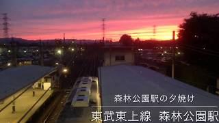 東武東上線 森林公園駅の夕焼けをハイパーラプスで撮ってみました。 電...