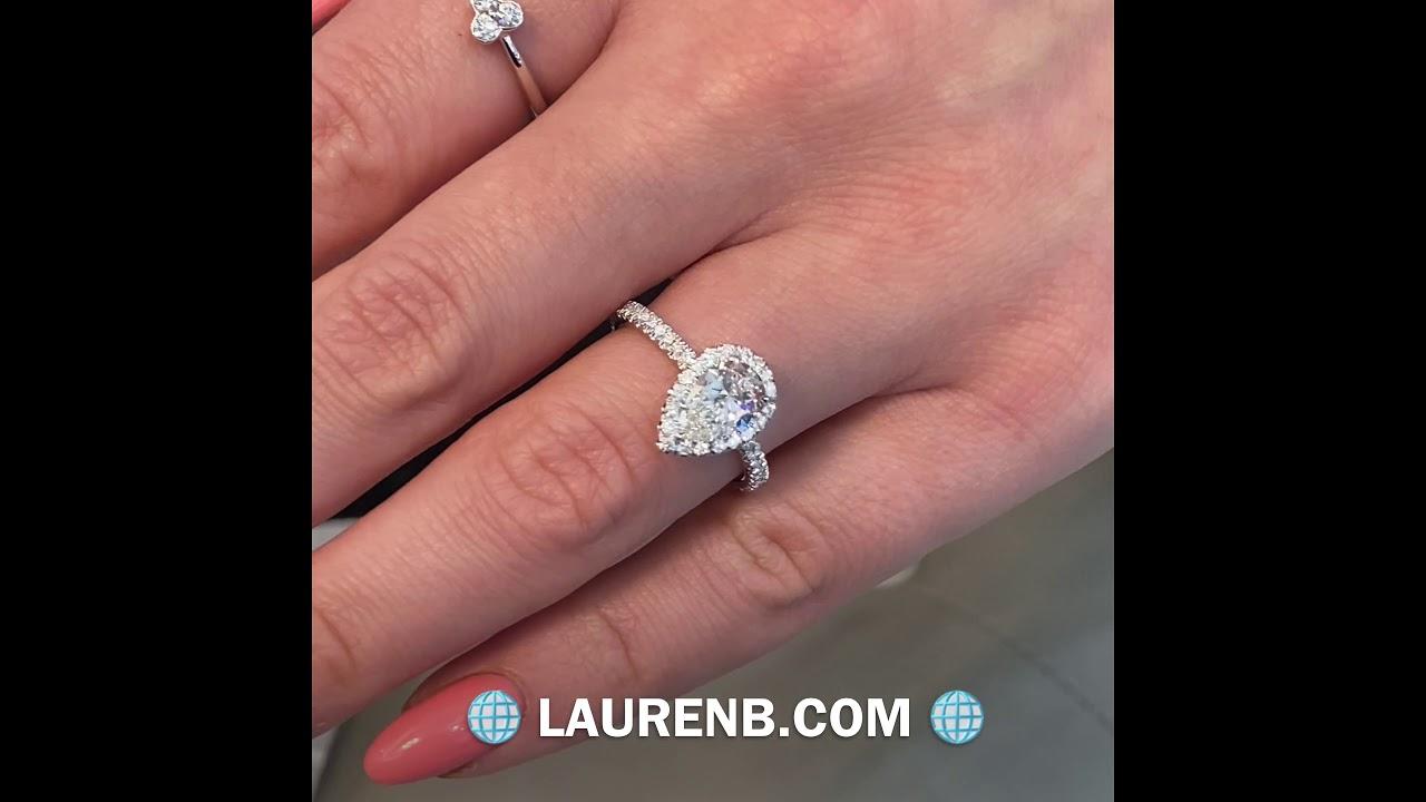1 carat Pear Shape Diamond Halo Engagement Ring