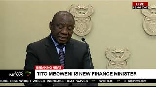 Pres. Ramaphosa congratulates Tito Mboweni as new Finance Minister