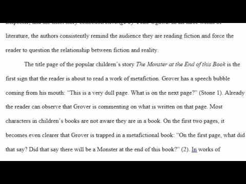 Sample Mla Literary Analysis Paper  Youtube