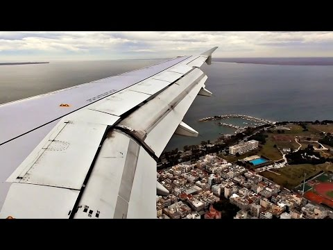 Aegean Airlines A320 TURBULENT APPROACH AND LANDING at Thessaloniki Airport