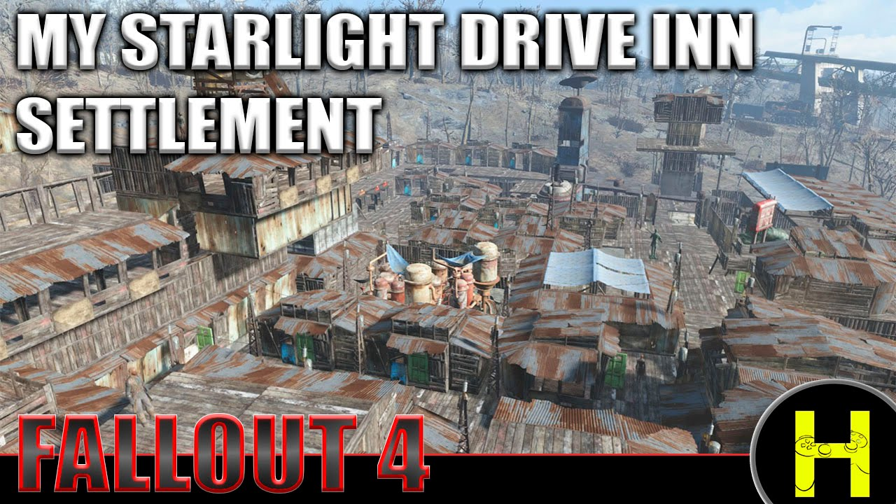 Fallout 4 my settlement at the starlight drive inn youtube for Fallout 4 bedroom ideas