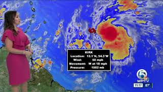11 a.m. tropics update: Tropical Storm Kirk's winds at 50 mph