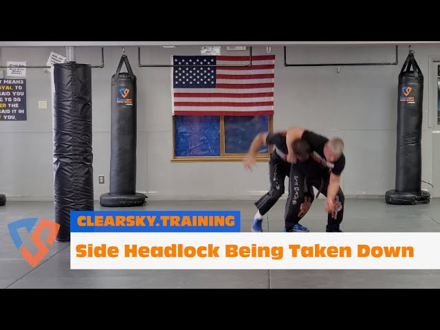 How to Defend Against A Side Headlock Being Taken Down | Krav Maga