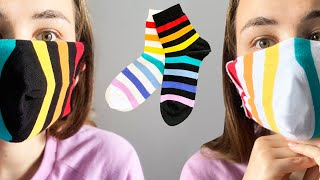 Double side Sock Mask Easy Face Mask from Socks NO Sew DIY Cloth Mask with Socks Tutorial