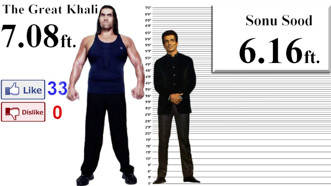The Great Khali Height Comparison with 35 Stars - YouTube