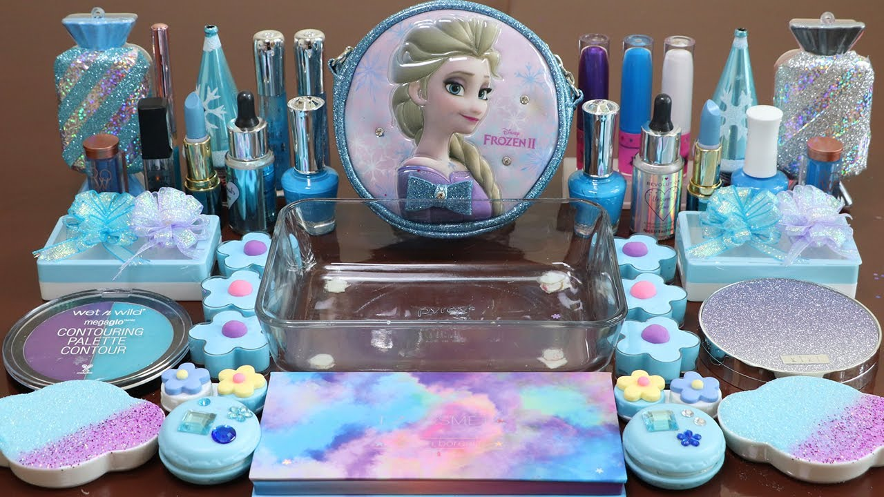 """Mixing""""Frozen"""" Eyeshadow and Makeup,parts,glitter Into Slime!Satisfying Slime Video!★ASMR★"""
