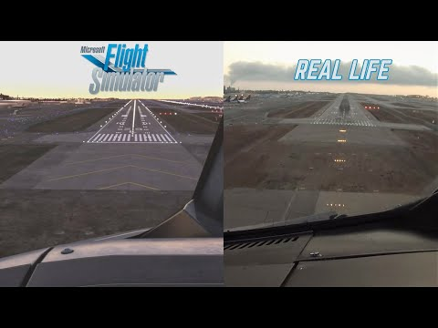 Microsoft Flight Simulator 2020 vs. Real Life at Los Angeles LAX | A320 Cockpit Side by Side