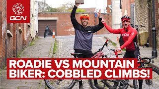 Roadie VS Mountain Biker: Who's Faster Up Cobbled Climbs? | GCN X GMBN Flanders Challenge!