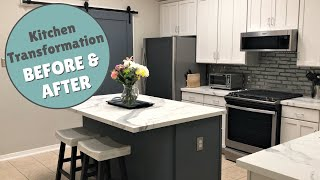 Kitchen Transformation | Porcelain Tile Counter Top - Affordability + Style