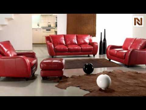 Full Leather Bremen Red Sofa Set VGBI2540-RED