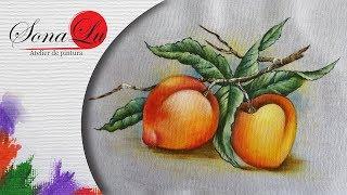Pêssegos em Tecido por Sonalupinturas
