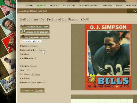 O.J. Simpson Graded Football Card Value Price Guide
