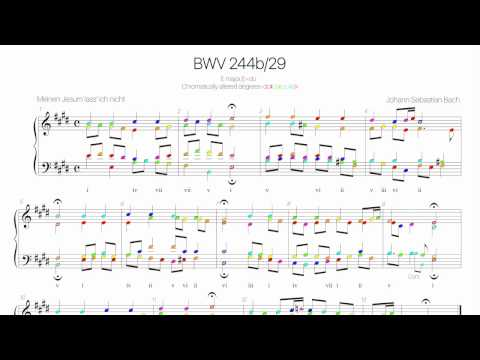 Bach Chorale BWV 244b-29 Harmonic analysis with colored notes -Meinen Jesum lass ich nicht -