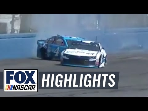Kevin Harvick slams into wall after contact with Kyle Larson | 2018 AUTO CLUB SPEEDWAY | FOX NASCAR
