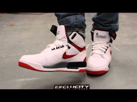 Nike Air Revolution White - Varsity Red - Black On-feet Video at Exclucity