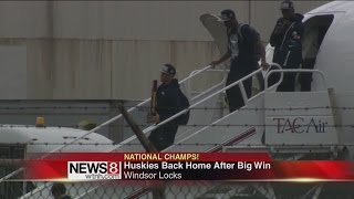 Champion UConn Huskies return home