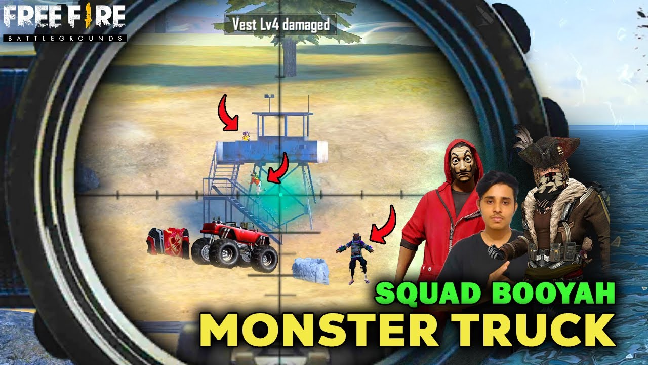 MONSTER TRUCK!!!  AJJUBHAI SQUAD BOOYAH | Play With @TG DELETE@TG DADA  | Free Fire Highlights