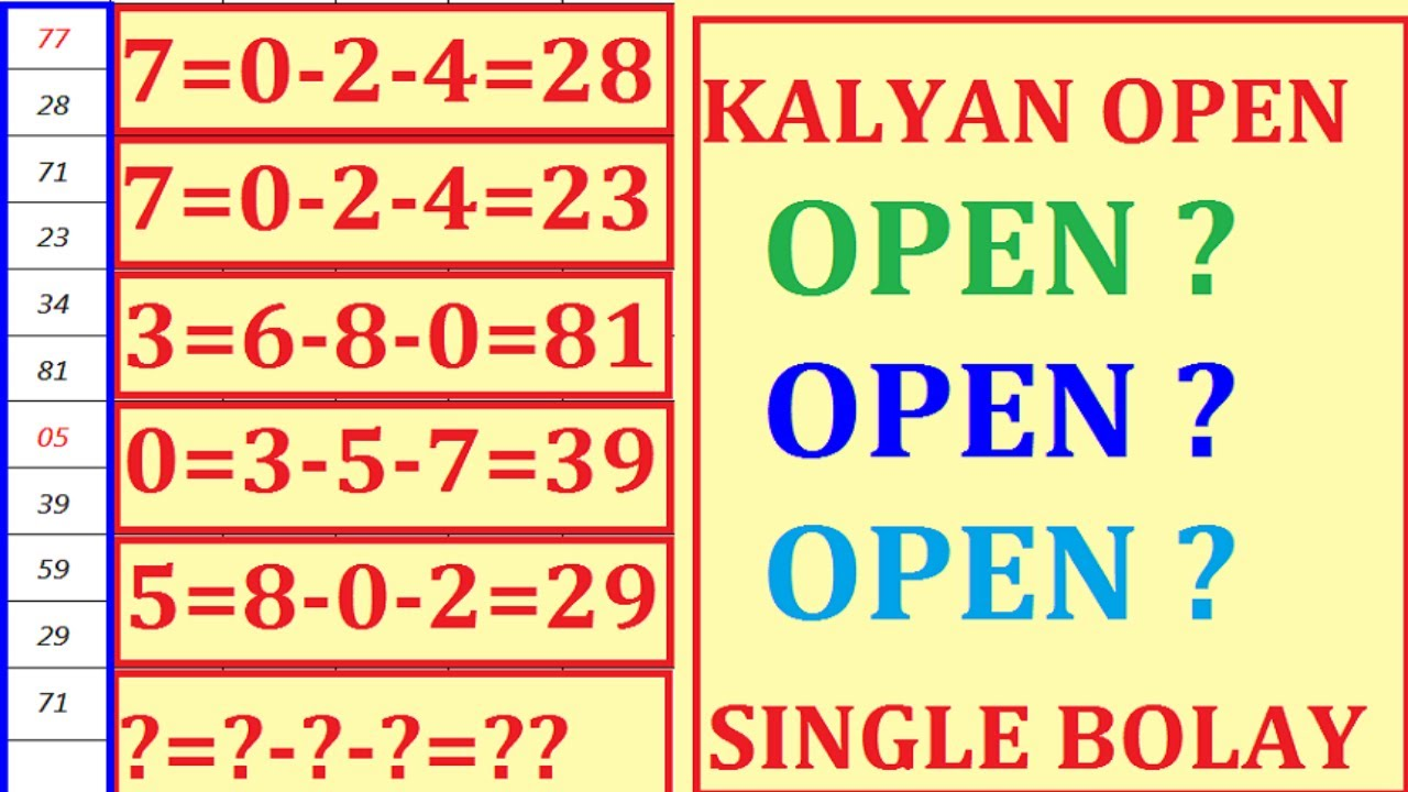 KALYAN OPEN TODAY 21-09-2020 KALYAN OPEN TRICK