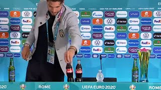 video: Manuel Locatelli joins Cristiano Ronaldo in Coca-Cola bottle snub - but England are unlikely to follow
