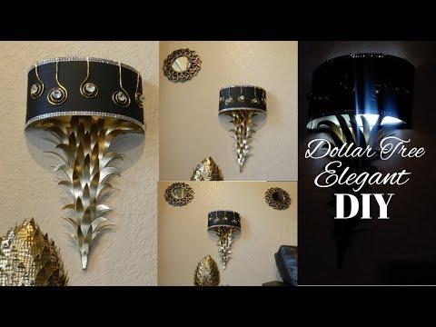 DIY Glam Wall Sconces| DIY Elegant Lighted Home Decor| DIY Elegant Dollar Tree Wall Lamps