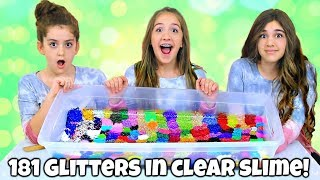 Mixing 181 Glitters into Giant Clear Slime!