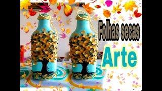 Como fazer árvore utilizando folhas secas em garrafa