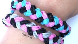 Repeat youtube video PULSERA de GOMITAS trenza doble (con telar) | Double braid BRACELET