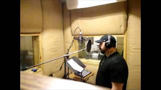 "Optikz in the booth at Studio A recording vocals for his upcoming new single ""Dark"" (Part 1)"