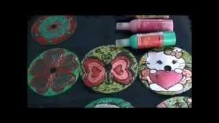 Organizador de Aretes con cd pintado a mano