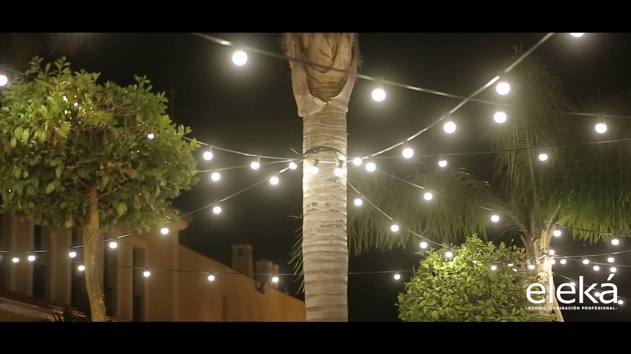 guirnaldas de bombillas iluminacin exterior para eventos
