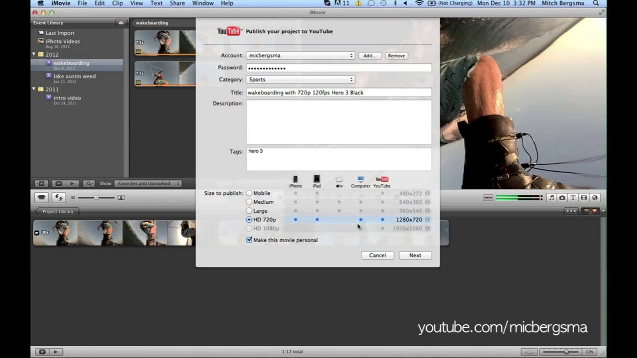 iMovie - How to export video clip to YouTube without losing quality |  MicBergsma